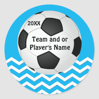 Your Text and Team Colors Chevron Soccer Stickers