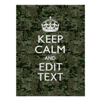 Your Text Digital Camouflage Camo Keep Calm Posters