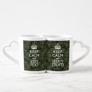 Your Text Digital Camouflage Olive Green Keep Calm Coffee Mug Set