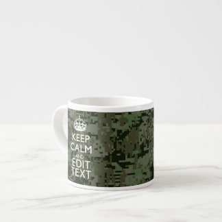 Your Text Digital Camouflage Olive Green Keep Calm Espresso Cup