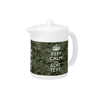 Your Text Digital Camouflage Olive Green Keep Calm Teapot