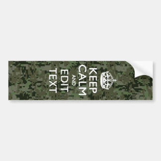 Your Text Digital Camouflage Woodland Keep Calm Bumper Sticker