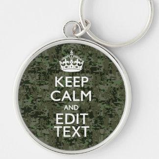 Your Text Digital Camouflage Woodland Keep Calm Keychain
