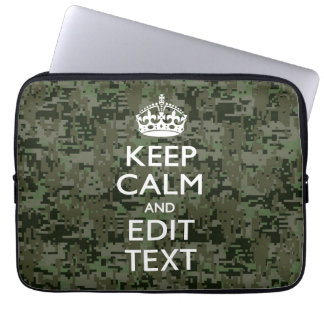 Your Text Digital Camouflage Woodland Keep Calm Laptop Sleeve