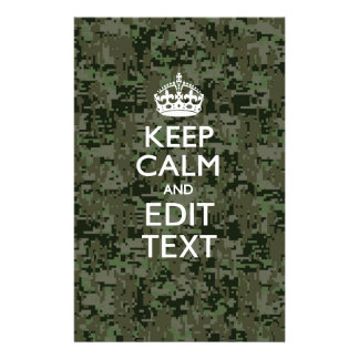 Your Text Digital Camouflage Woodland Keep Calm Stationery