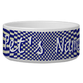 Your Text - Distorted Blue and White Checks Bowl