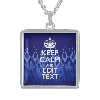 Your Text for Keep Calm on Blue Racing Flames Sterling Silver Necklace