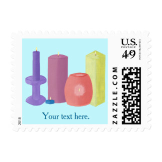 Your Text Here Candle Themed Postage Stamps