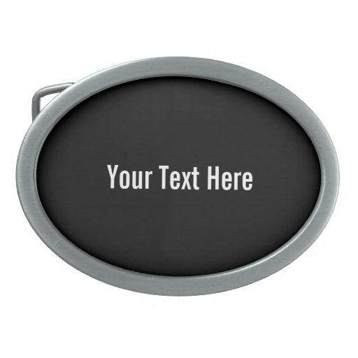 Your Text Here Custom Black Background Belt Buckle