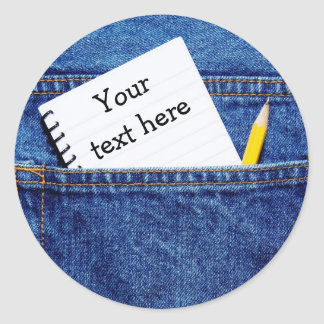 """Your Text Here"" Notebook in Pocket Classic Round Sticker"