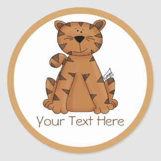 Your Text Here Personalized Cute Tiger Classic Round Sticker