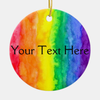 Your Text Here Rainbow Wash Circle Ornament