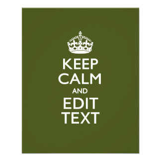 Your Text Keep Calm And on Olive Green Decor Flyer