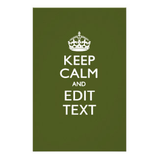 Your Text Keep Calm And on Olive Green Flyers