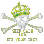 Your Text Keep Calm Crown Crossbones Skull Chest Embroidered Track Jackets