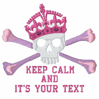 Your Text Keep Calm Crown Crossbones Skull Embroid Embroidered Track Jackets