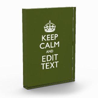 Your Text Keep Calm on Olive Green Decor Award