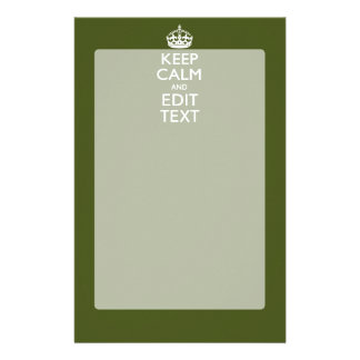 Your Text Keep Calm on Olive Green Decor Stationery