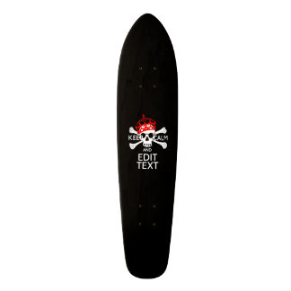 Your Text Keep Calm Red Crown Crossbones Skull Skateboard Deck