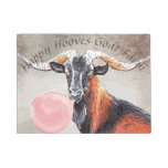 Your Text Look At Those Horns Goat With Bubblegum Doormat at Zazzle