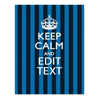 Your Text on Keep Calm Blue Stripes Decor Letterhead