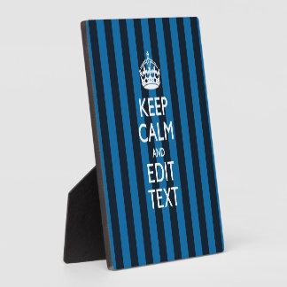 Your Text on Keep Calm Blue Stripes Decor Plaque