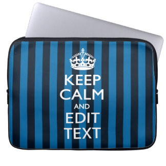 Your Text on Keep Calm Blue Stripes Style Laptop Computer Sleeve