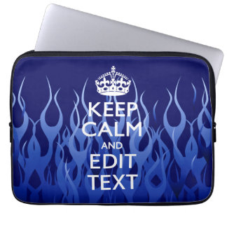 Your Text on Keep Calm on Blue Racing Flames Computer Sleeves