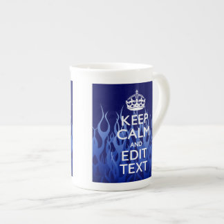 Your Text on Keep Calm on Blue Racing Flames Tea Cup