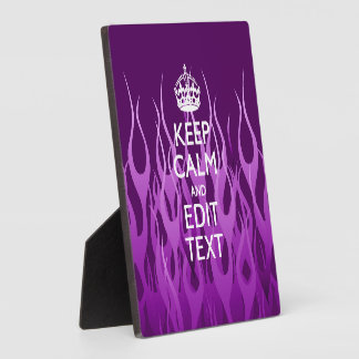 Your Text on Keep Calm Purple Racing Flames Decor Plaque