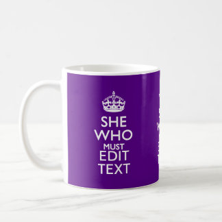 Your Text on She Who Must Be Obeyed Purple Accent Coffee Mug