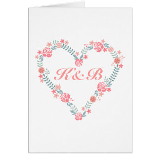 Your text or monogram in floral heart wreath frame greeting card