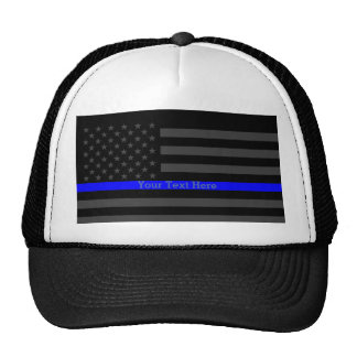 Your Text Thin Blue Line Black US Flag Art Trucker Hat