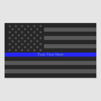 Your Text Thin Blue Line Black US Flag Decor Rectangular Sticker