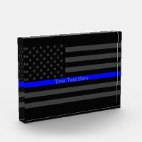 Your Text Thin Blue Line Black US Flag Prize Award