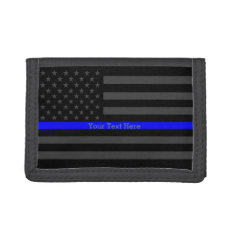 Your Text Thin Blue Line Bold Black Us Flag Trifold Wallet at Zazzle