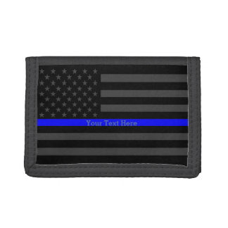 Your Text Thin Blue Line Bold Black US Flag Trifold Wallet