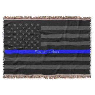 Your Text Thin Blue Line Charcoal Black US Flag Throw