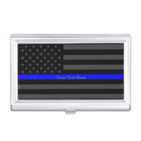 Your Text Thin Blue Line Classy Black US Flag Case For Business Cards