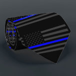 """Your Text Thin Blue Line Custom Grey US Flag Tie<br><div class=""""desc"""">A Thin Blue Line symbolic Grey US flag design graphic fashion tie. A great gift idea for gatherings, memorial celebrations and remembrance occasions. Personalize it with your text. Here&#39;s a fine line up of custom blue line design styles available on embroidered casual baseball caps for everyone. Use the &quot;Ask this...</div>"""