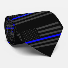 Your Text Thin Blue Line Custom Grey Us Flag Tie at Zazzle