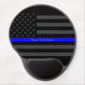 Your Text Thin Blue Line Elegant Black US Flag Gel Mouse Pad