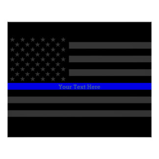 Your Text Thin Blue Line Stylish Charcoal US Flag Poster