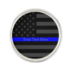 Your Text Thin Blue Line Symbol Grey US Flag Pin