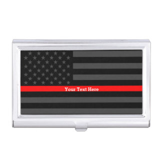 Your Text Thin Red Line Classy Black US Flag Case For Business Cards