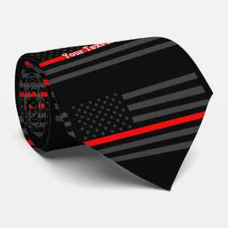 Your Text Thin Red Line Custom Grey US Flag Neck Tie