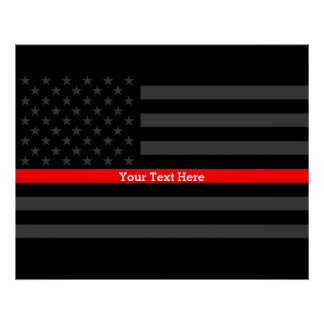 Your Text Thin Red Line Stylish Charcoal US Flag Poster