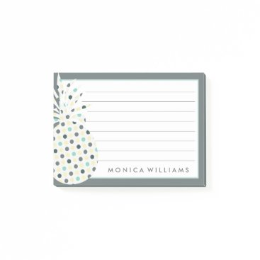 Beach Themed Your Text | Tropical Pattern Pineapple Post-it Notes