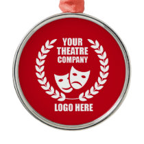 Your Theatre Company Logo Red Metal Ornament