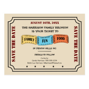 Your Ticket to a Fun Family Reunion Save the Date Postcard